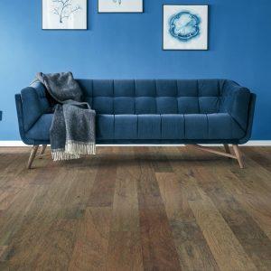 Blue sofa on hardwood floor   BFC Flooring Design Centre