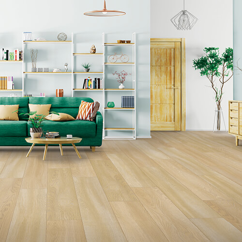 Laminate Flooring with a Green Couch | BFC Flooring Design Centre
